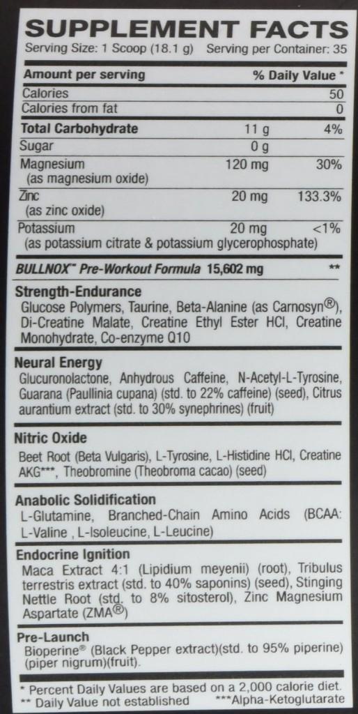 bullnox pre workout ingredients