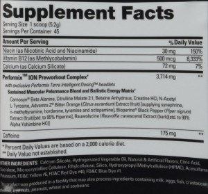 performix ion pre workout ingredients